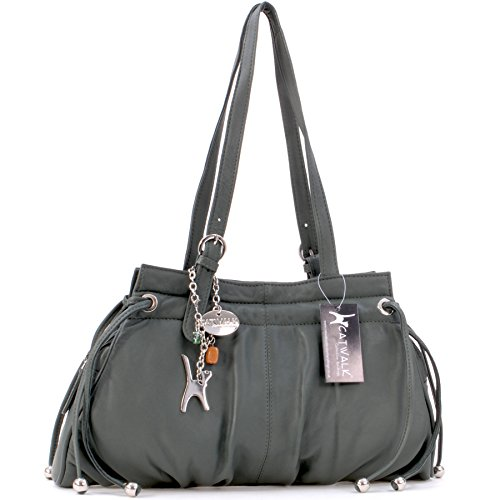 Catwalk Collection Handbags - Leder - Umhängetasche/Schultertasche - ALICE - Grün Alice Grün