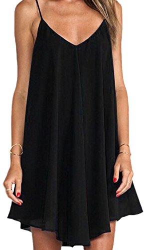 erdbeerloft - Damen Chiffonartiges Kleid mit V-Ausschnitt und Spaghettiträgern, Schwarz, Größe XS (Fringe Kleid Plus Größe)