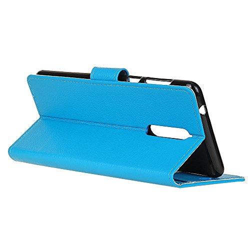 Klassische Litchi Texture PU Leder Schutzhülle Horizontale Folio Flip Stand Case Cover mit Kartensteckplätzen für Nokia 8 ( Color : Black ) Blue