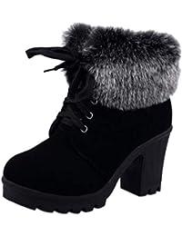 LHWY Damen Stiefel mit Absatz Winter Frauen Schnee Stiefel Bequeme Stiefeletten Rutschfeste Gummi Warme Stiefel