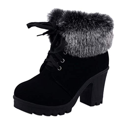 Bild von LHWY Damen Stiefel mit Absatz Winter Frauen Schnee Stiefel Bequeme Stiefeletten Rutschfeste Gummi Warme Stiefel