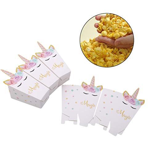 SEVENHOPE 12 Pcs/Set Licorne Popcorn Boîtes Conteneurs Remplissage De Bonbons Biscuits Collations Petits Jouets Articles De Fête Licorne Fêtes De Noël Décoration