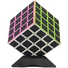 Wings of Wind - Etiquetas engomadas de la fibra del carbono cubo mágico ultra-liso del cubo del rompecabezas Cubo colorido de la etiqueta engomada (4x4)