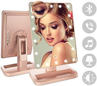 p-Licht, Bluetooth, Kosmetikspiegel mit Beleuchtung, professioneller Make-up-Spiegel & beleuchteter Schminktisch mit Smart Touch einstellbare LED-Lichter Rose Gold ()