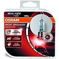 OSRAM NIGHT BREAKER UNLIMITED H11, Halogen-Scheinwerferlampe, 64211NBU-HCB, automóvil de 12 V, caja doble (2 unidades)