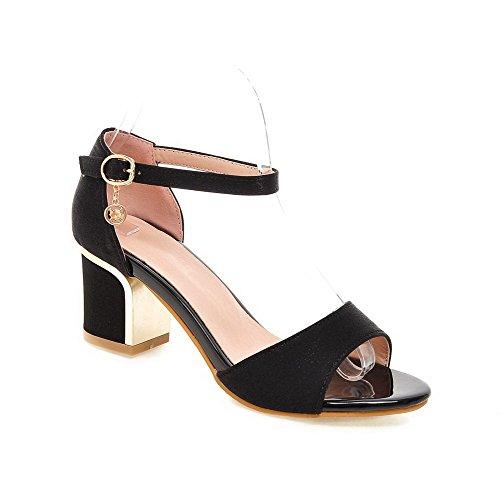 Cowboy Sandals VogueZone009 Fibbia Medio Nero Tacco Heeled Puro Donna 5vRRZxq0