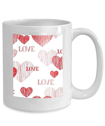 Mug Coffee Tea Cup Love Heart mom Happy Valentines Day Handwritten Lettering Wallpaper Pencil Sketch Tiled 110z - Mom Valentines Day Happy