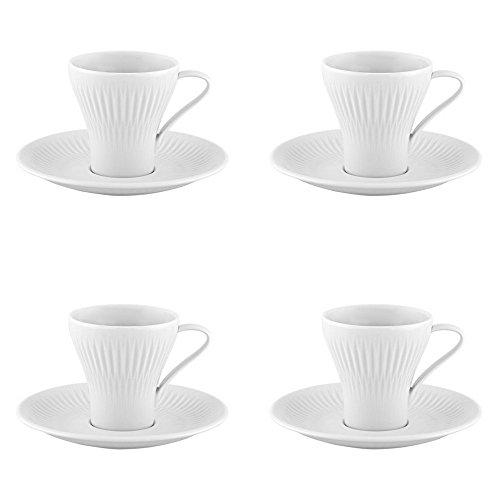 Vista Alegre Utopia - Juego de 4 tazas de café y platillos
