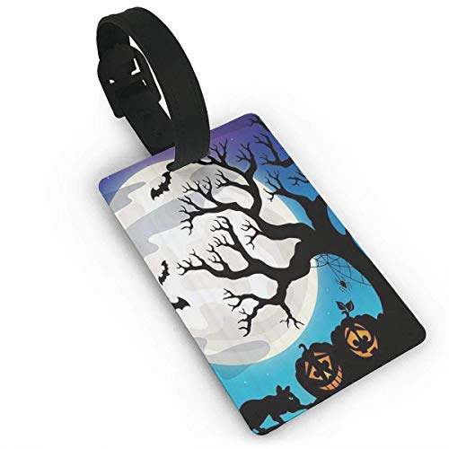 CHSUNHEY Kofferanhänger,Halloween Party Luggage Tags with Print for Suitcases,Flexible PVC Travel ID Sturdy Identification,Travel Accessories Suitcase Tags Apply3.7X2.2in
