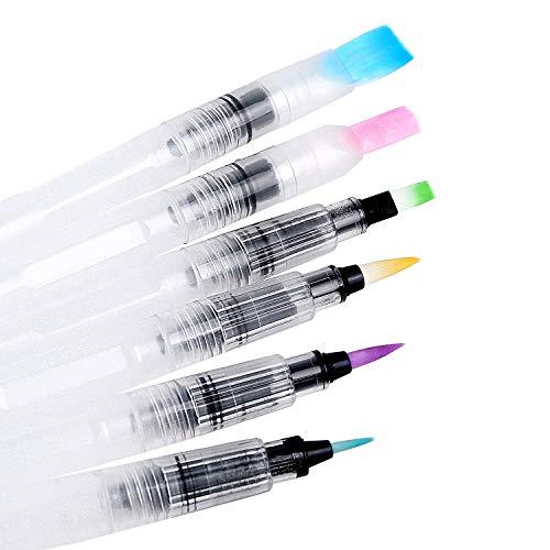 Pinselstifte Set 6 Aquarellfarben Brush Pen Stifte Ungiftige Wasserbasis Markers für Bullet Journal Kalligraphie Hand-Lettering Art Marker Filzstifte zum Zeichnen Malen Aquarell-Zeichnungen (6 Stück)