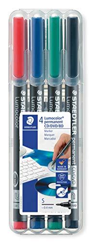 Staedtler 310 CDSWP4 Lumocolor CD-Marker,farblich sortiert, 4 Stück in der aufstellbaren Staedtler Box