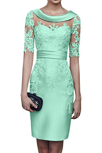 Charmant Damen 2018 Champagner Satin Abendkleider Partykleider Ballkleider Langarm Knielang Festlich Kleider -46 Minze Gruen - Für Frauen Minze-kleid