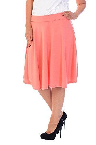 Neu Damen Übergröße Rock Skater Frau Plus-Size Plain Skirt Warm Nouvelle Collection 5007 (Größe 50-52, Koralle)
