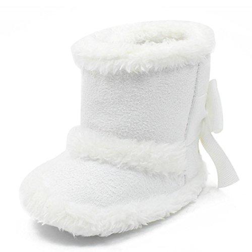 Clode® Kleinkind Mädchen Solide Farbe Warm Halten Baumwolle Schneestiefel Weiche Sohlen Krippe Schuhe Stiefel Winterstiefel Weiß