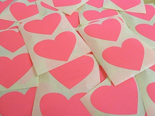50x37mm Magenta Fluorescente Rosa Brillante Con Forma De Corazón Etiquetas, 40 auta-Adhesivo Código De Color Adhesivos, adhesivo Corazones para Manualidades y Decoración