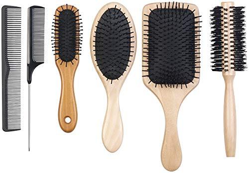 Herren Haar-kämme (Sichler Beauty Haarbürsten-Set: 6er-Haarpflege-Set: 3 antistatische Holzbürsten, 1 Rundbürste, 2 Kämme (Haarbürste Holz))