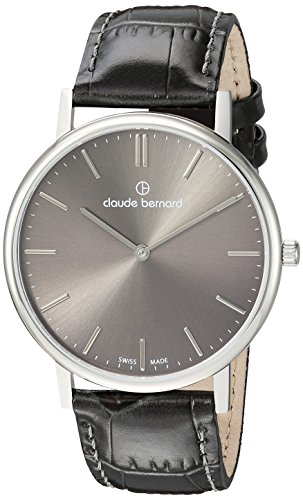 claude bernard Mens Analog Swiss-Quartz Watch with -Leather Strap 20214 3 Gin