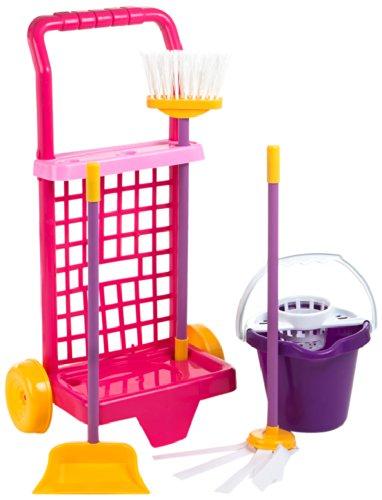 ColorBaby 40594 - Juego de imitación, carrito de limpieza con cubo, escoba, recogedor y fregona, Color Rosa y Violeta