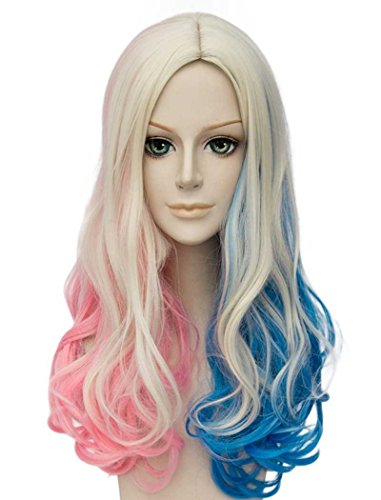 Falamka t3003 andp movie suicide squad harley quinn cosplay per ragazza donne mazzi rosa blu lunghi ricci parrucche cosplay (2)