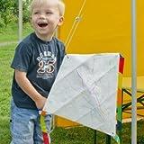 CIM Drachen Bausatz - Workshop Eddy - Kinderdrachen Komplettset zum selber basteln inkl. 6 Wachsmalstifte - 49 x 49cm - inklusiv Drachenschnur auf Handgriff, Streifenschwänze