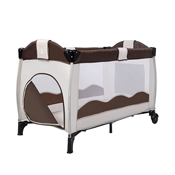 Costway Portable Infant Baby Travel Cot Bed Play Pen Child Bassinet Playpen Entryway W Mat 2 in 1 (Coffee) Costway 【Excluded locations】Guernsey, JERSEY, Channel Islands, Isle of Man, Scilly Isles, Scottish Islands, PO BOX 【Folded Design】Due to its folding design, you can take it to anywhere as you like by packing it in the supplied carry bag, and it just takes you a while to fold or unfold it before using. 【See-through safety mesh】It features mesh cloth on both sides, this netted areas allow your baby to see out clearly as well as an onlooker to see in to her/him, and it also offers great ventilation for your baby. 6