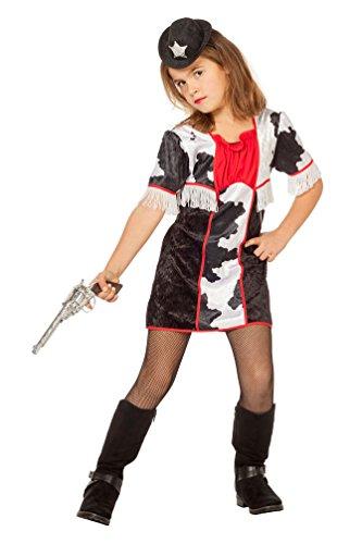 Karneval-Klamotten Cowboy Cowgirl Kostüm Kinder Mädchen Western-Kostüm Kleid schwarz-weiß-rot Größe 128