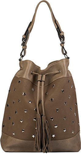 styleBREAKER bucket bag XL con stella, borchie e nappe, borsa shopping, borsa a tracolla, borsetta, donna 02012187, colore:Marrone Marrone