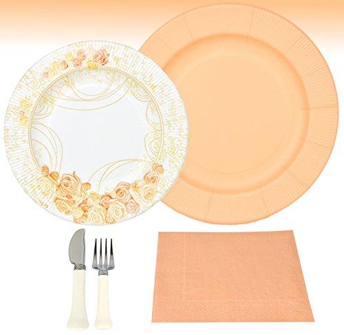 rr Party Set Pfirsich für 8 Personen aus Papptellern, Servietten und Besteck für festliche Anlässe mit pfirsich-farbigen Rosenverzierungen (Farbige Servietten)