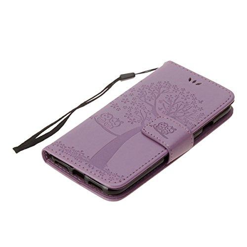 Coque iPhone 7, Etui iPhone 7, ISAKEN Coloré Aarbre Hibou Style PU Cuir Flip Magnétique Portefeuille Etui Housse de Protection Coque Étui Case Cover avec Portable Dragonne Stand Support et Carte de Cr hibou: violet
