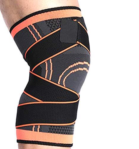 LOVEHOUGE Kniebandage, Anti-Rutsch-Kniebandage Superelastisch atmungsaktiv Kniekompressionsmanschette, zur Schmerzlinderung, Meniskusriss, Arthritis, ACL, MCL, Quick Recovery (2 Stück),Orange,XL