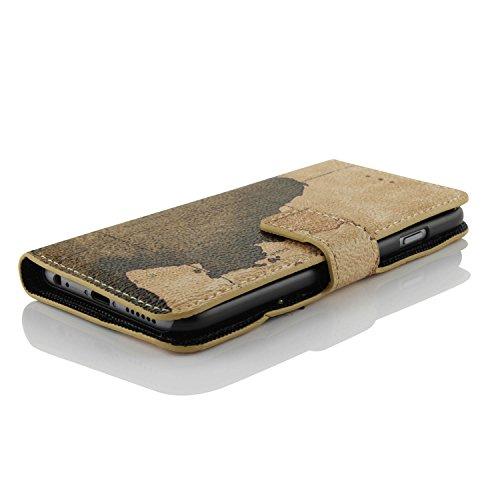 iPhone 6 6S Hülle, Urcover® Karten Design Map Style Handy Schutzhülle mit [ Karten- & Stand-Funktion ] Handytasche Smartphone Zubehör Case Cover Wallet für Apple iPhone 6 / 6S Style: 3 Style 3