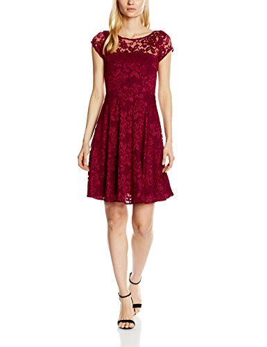 HotSquash Damen Kleid Lace Fit n Flare, Rot, 40