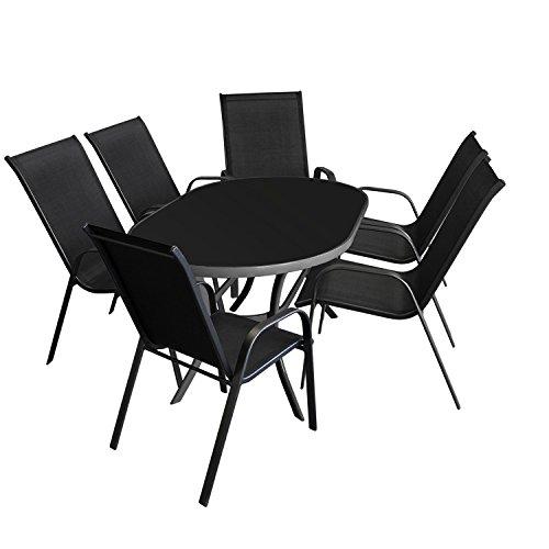 7tlg. Sitzgarnitur Sitzgruppe Gartenmöbel Terrassenmöbel Set Gartengarnitur - Glastisch, 140x90cm, Anthrazit + 6x Gartenstuhl, stapelbar, Schwarz