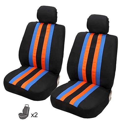 CAPTIANKN Autositzbezug - Universal Breathable Thermostatic Autositzkissen Erste Reihe Hauptfahr Co-Pilot 2 Sitze,Orange - Universal Pilot