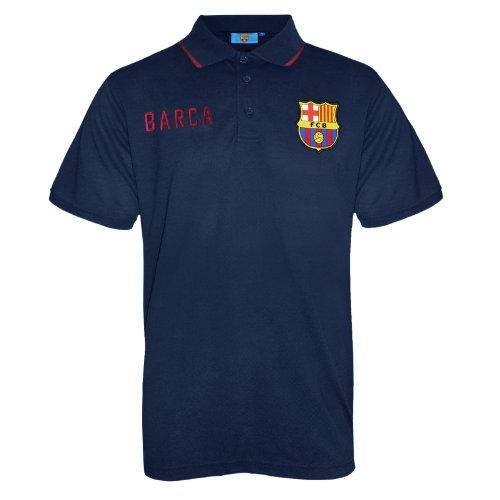 FC Barcelona Herren Polo-Shirt mit bunt gewebtem Vereinslogo - Marineblau - XL