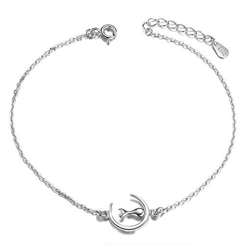 SWEETIEE–Pulsera de tobillo de plata 925Sterling, cadena Orne de gato en la luna, platino, 200mm