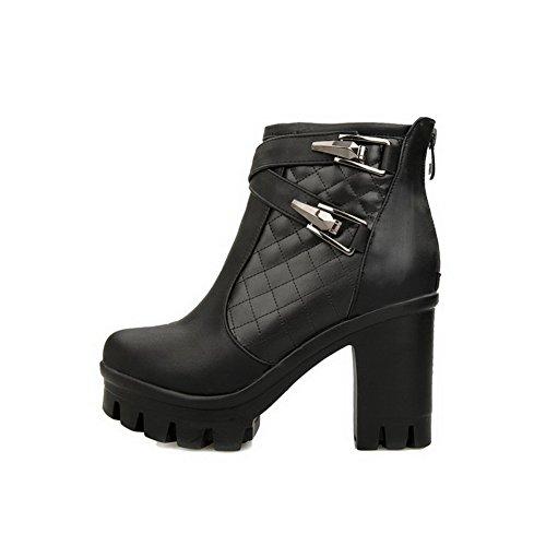 AllhqFashion Damen Niedriger Absatz Rein Rund Zehe Reißverschluss Stiefel mit Metallisch, Schwarz, 39