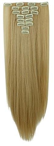 S-noilite - 8 Extensions 58 cm cheveux lisses et souples à clipser - extensions cheveux clips naturel-Blond foncé Mix Bleach Blond