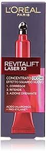 L'Oréal Paris Revitalift Laser X3 Crema Viso Contorno Occhi Antirughe Anti-Età con Acido Ialuronico e Pro-Xylane, 15 ml