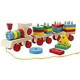 Lewo Train en bois Formes Puzzle à Trier et à Empiler Jeux de Construction