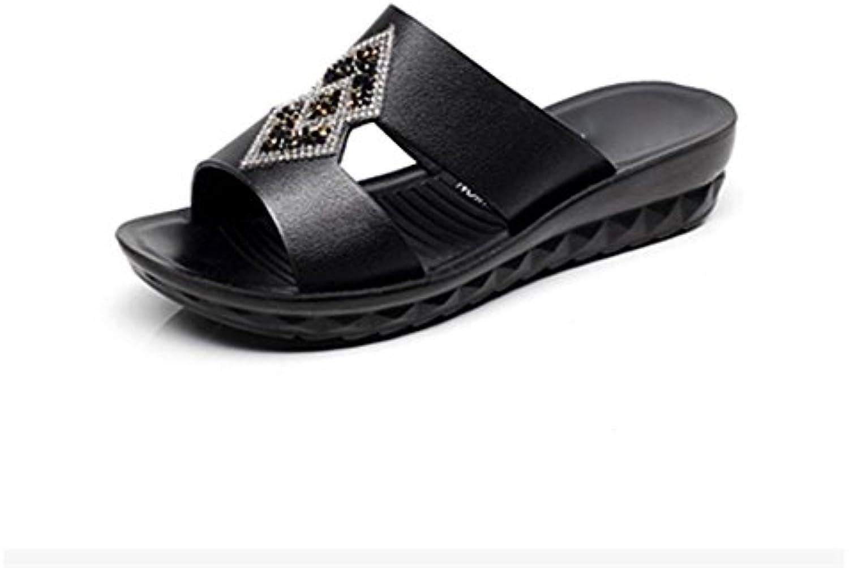 pengweiFrau Keilabsatz Sandalen und Pantoffeln mit den Wort Pantoffeln Sandalen , 1 , us8 / eu39 / uk6 / cn39