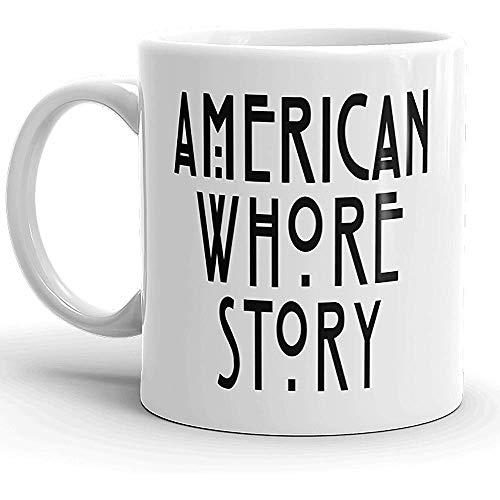 Taza de café American Whore Story, taza de té: Navidad divertida, Halloween, vacaciones, regalo de cumpleaños para cualquier fanático de American Horror Story, Lover White, cerámica, 11 onzas