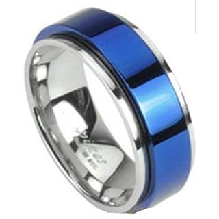 Blau Spinning Center Ring–Größe 10(UK-Größe T/U/V), zwei Ton doppellagige Ring 316L Edelstahl–erhältlich in anderen Größen Unsere Pegasus Body Jewellery Amazon Shop