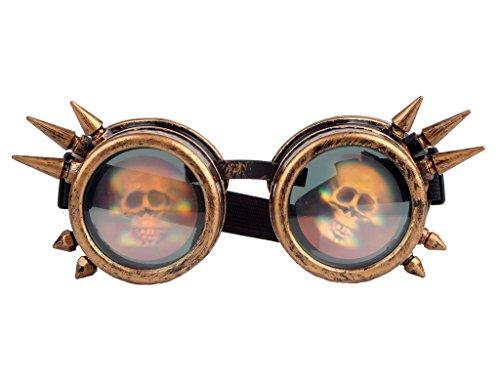 DODOING Kaleidoscope Goggles Steampunk Brille Schweißen Cosplay Weinlese Spitzen Schädel Halloween Party Brille Gläser (Halloween Brillen)