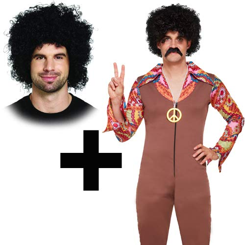 70s Hippie Mens Costume + Afro ()