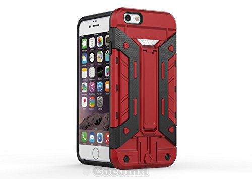 iPhone 6S Plus / 6 Plus Hülle, Cocomii Transformer Armor NEW [Heavy Duty] Premium Built-in Multi Card Holder Kickstand Shockproof Hard Bumper Shell [Military Defender] Full Body Dual Layer Rugged Cove Red