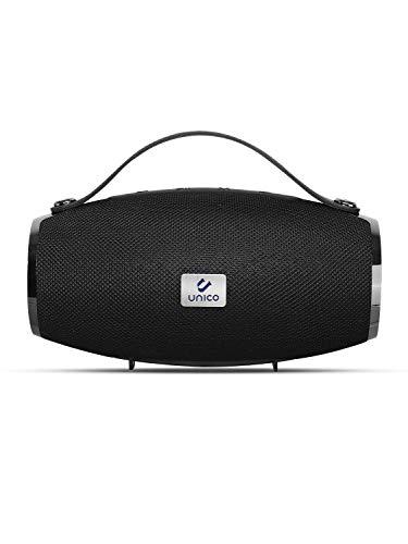 Unico - Altavoz Bluetooth 5.0, Radio FM, Micrófono, Resistente al agua, Sonido HD 360º, Super Bass, Ranura para tarjetas TF. Color negro.