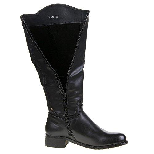 Damen Schuhe, 197-PG, STIEFEL Schwarz