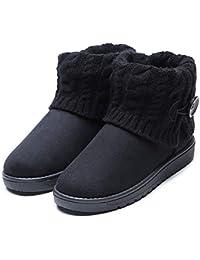 4a1214ef0ab05 Mujeres Bottines Moda Gamuza Botines Zapatos Invierno Mujer Botas de Nieve  Calzado Caño Calentar Planas Casual