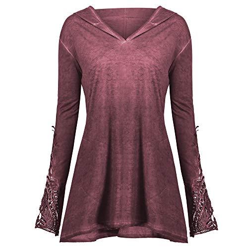 IZHH Damens Plus Size Tops, lässige Spitze Lange Ärmel lose Montage häkeln Panel solide Hoodie Bluse Swearshirt Lace Cuffed Hood Sweater Top(Rosa,XXX-Large)